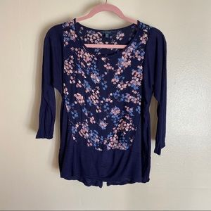 Lucky Brand super soft floral 3/4 sleeve top, S
